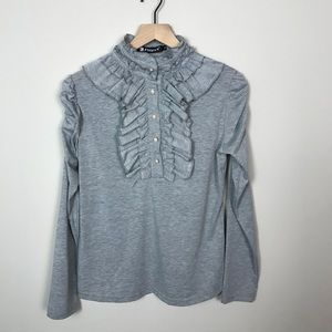 Gray Ruffle Cinched Long-sleeve Top